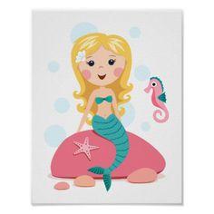 Chica rubio del dibujo animado de la sirena con el póster