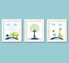 Navy, blue and green  Nursery Art Print Set, Children Wall Art, Kids room decor - Elephant, baby elephant, giraffe, owl , love bird. $39.95, via Etsy.