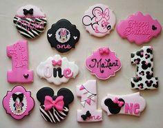 #minniemouse #minniemouseparty #zebra #one #happybirthday #customcookies #polished #polishededibles