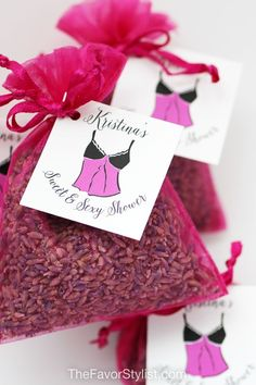 When you have all of the details of your party selected, don't forget the special thank-you's for your guests! Share these pretty pink favors at your bridal shower or lingerie shower. Click to see how we can make your favors perfect. #lavender #favors #bridalshower #partyfavors #lingerieparty Spa Party Favors, Tea Favors, Bachelorette Party Favors, Bridal Shower Favors, Birthday Party Favors, Lingerie Shower Cookies, Lingerie Shower Games, Lingerie Party, Lavender Sachets