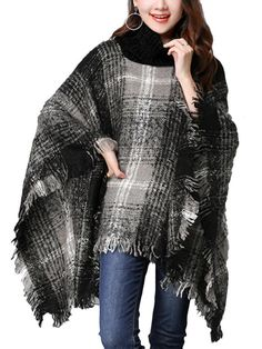 Turtle Neck Plain Striped Pullover Tassel Retro Women Sweater - Gchoic.com
