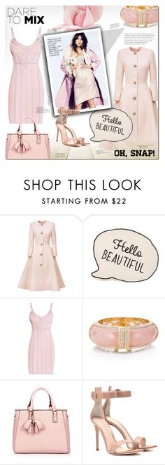 """""""Hello Beautiful"""" by justlovedesign ❤ liked on Polyvore featuring Esme Vie, Hervé Léger, Kate Spade, Gianvito Rossi, Pink and beautiful"""