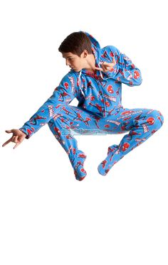 MUST SHOW BRITTANY LOL!  Official Spiderman Footed Hooded Pajamas! Loaded with extras featuring: Hoodies, thumb holes, logo zipper pull, front kangaroo pockets and even a left shoulder pocket perfect for your IPhone ready to rock out when you are. TM © 2012 Marvel