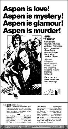 "Vintage Toledo TV - NBC Print ads - ""Aspen"" part 1 of 3 (Sat 11/5/77 full-page TV Guide ad & listing)"