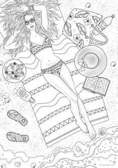 Sunbathing - Printable Adult Coloring Page from Favoreads (Coloring book pages for adults and kids, Coloring sheets, Colouring designs) Whale Coloring Pages, Easter Egg Coloring Pages, Elephant Coloring Page, Spring Coloring Pages, Cars Coloring Pages, Coloring Pages For Girls, Coloring Books, Colouring Sheets For Adults, Printable Adult Coloring Pages
