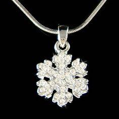 Dainty Swarovski Crystal White SNOWFLAKE Snow Flake by Kashuen