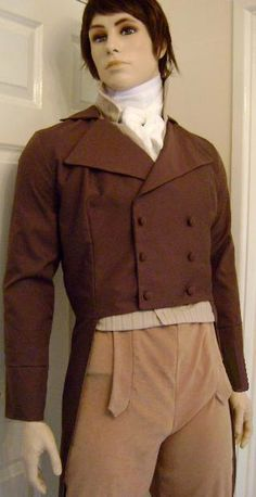 Mens double breasted Regency tailcoat Custom made to order in size & fabrics. £168.00, via Etsy.