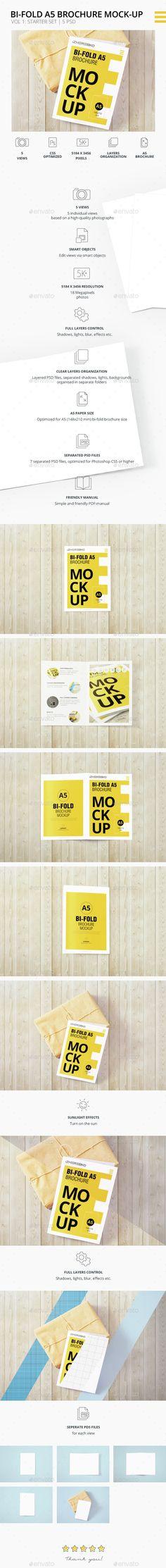 Bi-Fold A5 Brochure  Leaflet Mock-up. Vol.1
