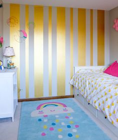 Gold Striped Feature Wall | Pharaoh's Gold Metallic Paint by Modern Masters | Girls Room Project by Albion Gould