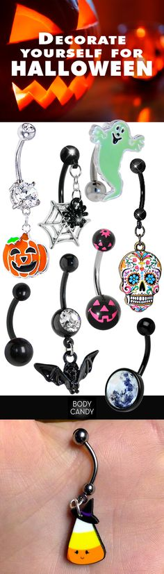 Complete your costume with a fun, flirty & frightful belly ring… Bellybutton Piercings, Cute Piercings, Piercing Ring, Body Piercings, Piercing Tattoo, Belly Button Jewelry, Belly Button Rings, Cute Belly Rings, Belly Bars