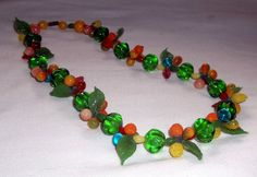 Vintage MURANO FRUIT Necklace Italy Glass Fruit by JensBarn