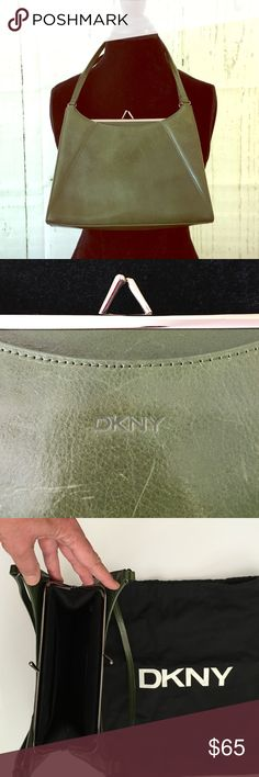"""SALE!!🎀Retro DKNY Snap Closure Purse🎀 This is an extremely unique find! A vintage DKNY green leather purse with a snap closure and silver hardware. Definitely a small bag to accentuate an evening outfit, it has a large zippered pocket inside as well as 1 large open pocket. 9 1/2"""" X 7"""" with an 18"""" strap. Dust bag included!! Clearance price firm unless bundled!! DKNY Bags Mini Bags"""