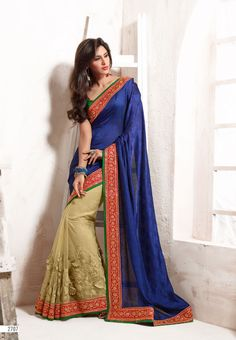 Sandal with Royal Blue Colored Half and Half Designed Net with Chiffon Jacquard Saree with