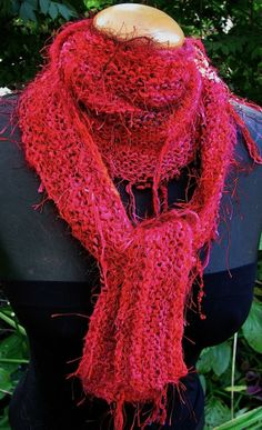 Hand Knit Shaped Scarf  Prism Multifiber 'Lipstick' by lizziemac7, $60.00