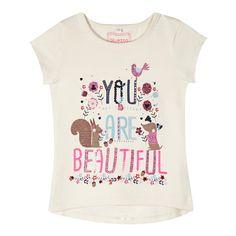 Girl's natural 'Beautiful' print t-shirt - Kids - Debenhams.com
