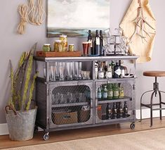 great metal bar cart with doors