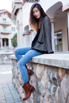 Dark-brown-frye-boots-blue-zara-jeans-black-bb-dakota-cardigan