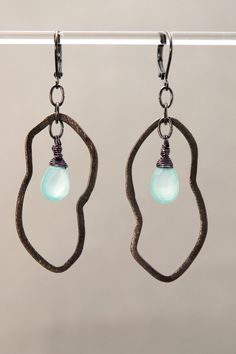 MODERN GLOW: Chalcedony briolettes with fancy Wire Wrap on Gunmetal Abstract Shapes