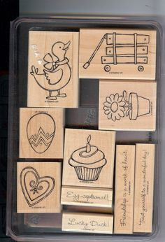 Wagon Full of Fun Rubber Stamp Set by Stampin' Up. $15.00, via Etsy.