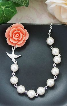 Coral Rose Flower with Swarovski Pearl Bridal Necklace Bridesmaid Necklace from EarringsNation Coral Weddings