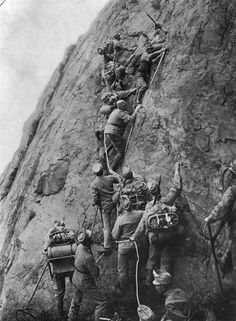 Italian alpine units climbing a steep slope during World War I.While World War I is particularly known for its trench warfare, one interesting part of WWI history was the Alpine wars of Northern Italy. Perhaps those who faced the worst conditions were the Italians.  Throughout most of the war Germany and Austria-Hungary occupied the high ground.  Thus Italian soldiers were often forced to make suicide attacks against highly fortified mountain top positions, suffering heavy losses.