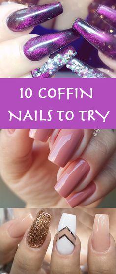 10 Impressive Coffin Nails – Ballerina nail designs ideas. Glitter, glossy, matte, pink, black, blue, orange, rainbow, summer, modern, trending, acrylic nail polish, clear nail ideas.