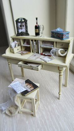 desk and stool in 1/12 scale