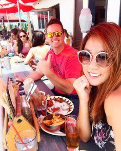 Most fun at our regular beach hangout!  #summer #summerfun #beachlife #beachbum #cocktails #sandiego #missionbeach #boardwalk #calilife #summerdrink #husband #and #wife #afternoon #chickenwings #beer #beerbelly
