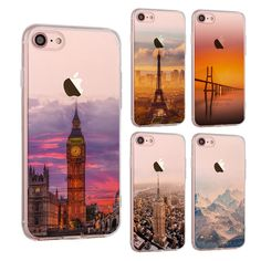 Sale 30% (2.89$) - Ultra Slim Soft Translucent Landscape Scenery Painting Silicon Case Back Cover For iPhone 7