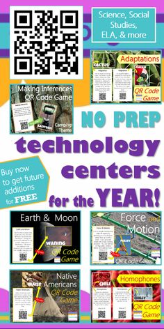 Easily integrate technology into instruction! This GROWING technology bundle will grow to 36+ QR code games for Science, Social Studies, ELA, Reading, Math, Health, and Computer Science by May 2015 (but the price will also grow)! 1 QR code center activity for each week of school! Includes: Making Inferences {Camping Theme}, Water Cycle, Weather, Native Americans, Colonial Jobs, Force & Motion, Earth & Moon, Economics, Homophones & many more QR code activities! Great BYOT, BYOD, or iPad…