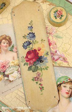 Vintage Home Shop - Beautiful Hand Painted Antique Floral Door Push Plate: www.vintage-home.co.uk
