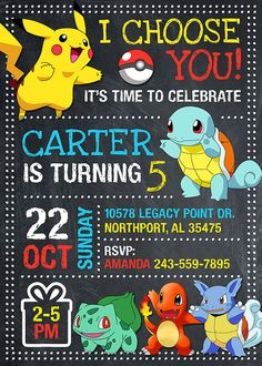 Pokemon Invitation for Birthday Party. This listing is for the creation and delivery of high resolution JPG DIGITAL FILE 300DPI (digital file invitation only). No physical product will be shipped. ORDERING PROCESS *** Purchase this listing and complete checkout. *** Write at NOTE TO SELLER in checkout process the following information: - Size (4x6 or 5x7) - Name - Age - Date & Time - Location - RSVP/Regrets Only *** I will send you a final file within 12 hours or less after receiving this…