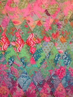 Kaffe Fasset fabrics pieced with the same concept as a Bloomin 9 Patch...LOVE IT