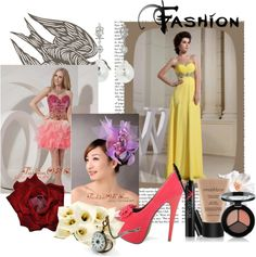 """""""Beaded Decorate Waist and Sweetheart For Yellow Prom Dress"""" by pageantdress on Polyvore"""