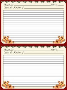 . Christmas Fonts, Christmas Printables, Homemade Recipe Books, Printable Lined Paper, Canning Labels, Printable Recipe Cards, Recipe Scrapbook, Recipe Binders, Card Book