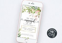 Engagement Announcement Template Electronic Engagement | Etsy Bachelorette Party Invitations, Bridal Shower Invitations, Electronic Save The Date, Wedding Templates, Digital Invitations, Announcement, First Love, Smartphone, Stationery