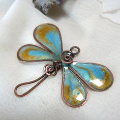 Copper Wire Jewelry | Dragonfly Copper Wire Jewelry Charm with Turquoise and Gold Iridescent ...