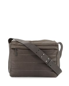 Monili-Stripe Leather Box Satchel Bag, Graphite (Grey) - Brunello Cucinelli