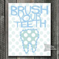 Brush Your Teeth Printable Poster - Dentist Art by NiftyPrintables #dentist #dental #dentalhygienist #hygienist #dentistry #teeth #bathroom