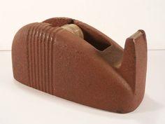Vintage 3M Brick Red Solid Cast Iron Scotch Tape Desk Dispenser ~ Retro Office  #3M