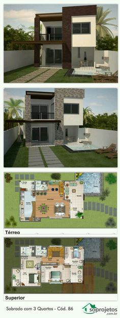 Dream House Plans, Modern House Plans, House Floor Plans, My Dream Home, House Map, 3d Home, Sims 4 Houses, House Layouts, Bungalows