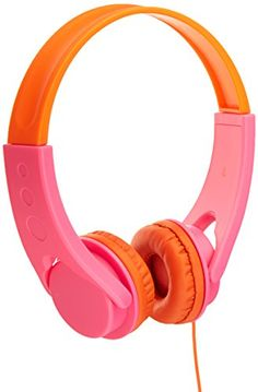 AmazonBasics Volume Limited On-Ear Headphones for Kids - Pink/Orange ** See this great image @