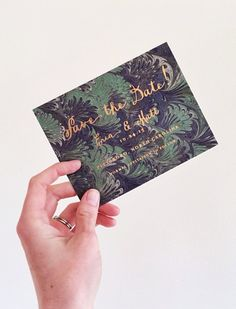 marbled and copper foil save the dates by hello tenfold