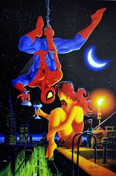 """comicblah: """" Spidey & Mary Jane by Ken Steacy """" Aw yeah, '90s coloring!"""