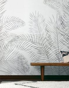 Wallpaper green trend with leaf and XXL mural pattern Papier peint tendance verte avec feuille et Wallpaper Floor, Home Wallpaper, Pattern Wallpaper, Drawing Wallpaper, Feature Wallpaper, Bedroom Wallpaper, Feature Wall Bedroom, Removable Wall Murals, Inspiration Wall