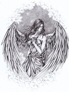 Mar 2014 - Pencil Drawings of Guardian Angels Wing Tattoo Designs, Angel Tattoo Designs, Tattoo Design Drawings, Angel Sketch, Angel Drawing, Guardian Angel Tattoo, Guardian Angels, Drawing Sketches, Pencil Drawings