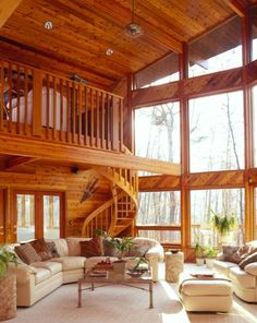 Timber frame cabin.