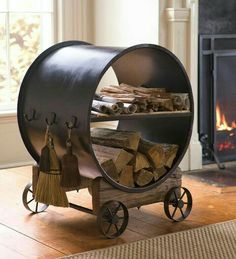 You want to build a outdoor firewood rack? Here is a some firewood storage and creative firewood rack ideas for outdoors. Indoor Firewood Rack, Firewood Holder, Wood Storage Rack, Metal Rack, Fireplace Tools, Wood Holder For Fireplace, Hearth And Home, Storage Places, Diy Holz