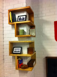 Furniture,Stylish Corner Shelving Unit Design Inspiration With Simple Unique Wooden Corner Bookshelves In Beautiful Bright Brown Color And Cool Picture Frames Also Rustic White Brick Stone Wall,Creative And Unique Shelving Units Corner Bookshelves, Small Bookshelf, Corner Wall Shelves, Bookshelf Design, Shelves In Bedroom, Wall Shelves Design, Wall Mounted Shelves, Bookshelf Wall, Bedroom Corner