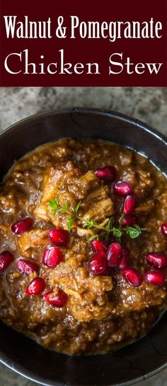 Chicken stew with walnut and pomegranate sauce! It's a Persian classic called Fesenjan that's amazingly good! #pomegranate #ChickenStew